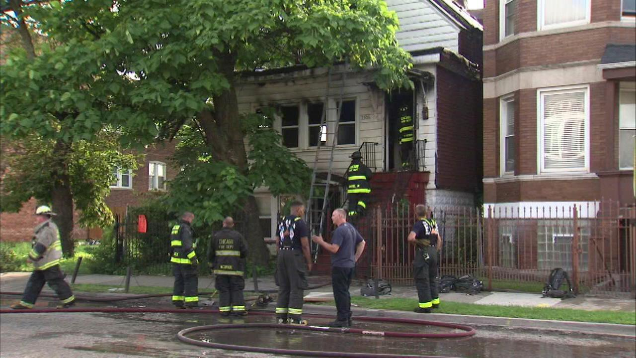 A woman was seriously injured in a North Lawndale house fire Saturday afternoon.