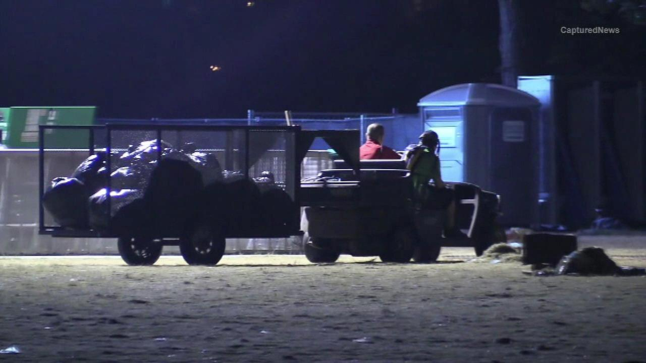 Crews clean-up Grant Park after Lollapalooza.