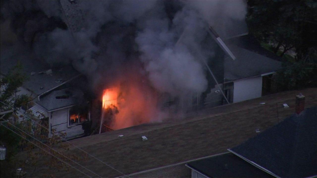 Firefighters battle extra-alarm blaze in Maywood