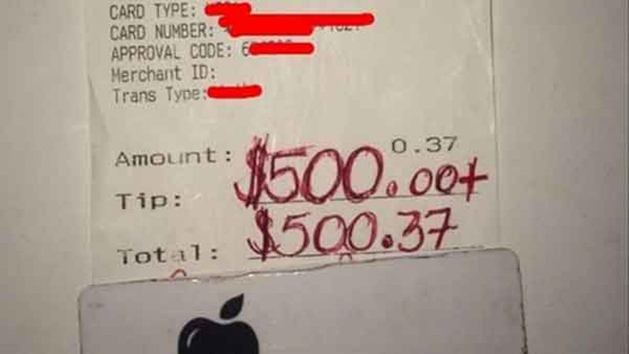 A Texas waiter saw his kindness towards a grieving widow come full circle when he received a whopping $500 tip on a bill totaling less than a dollar.