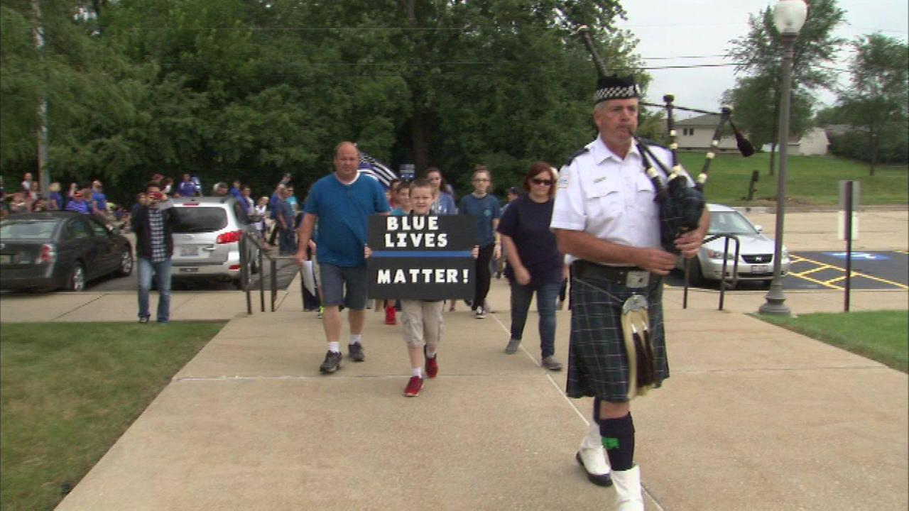 A Blue Lives Matter march in Lockport, Ill.