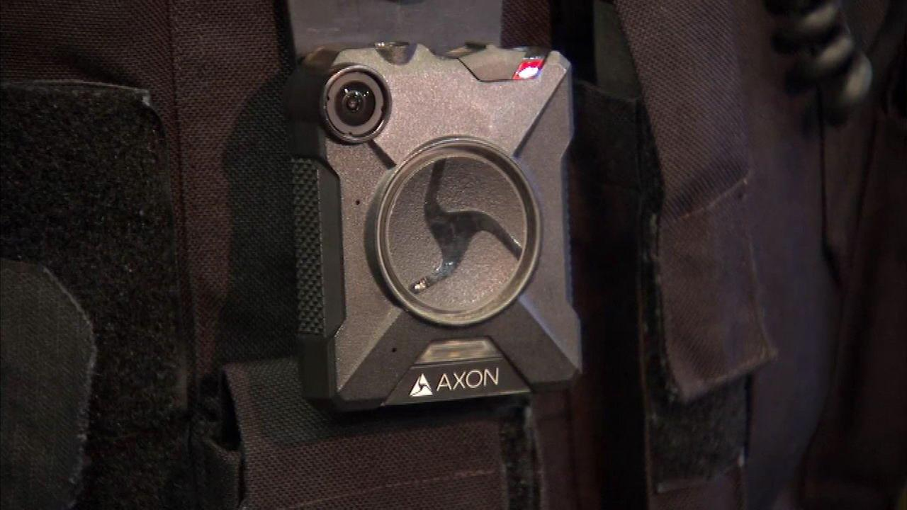 A body camera worn by a Chicago police officer.