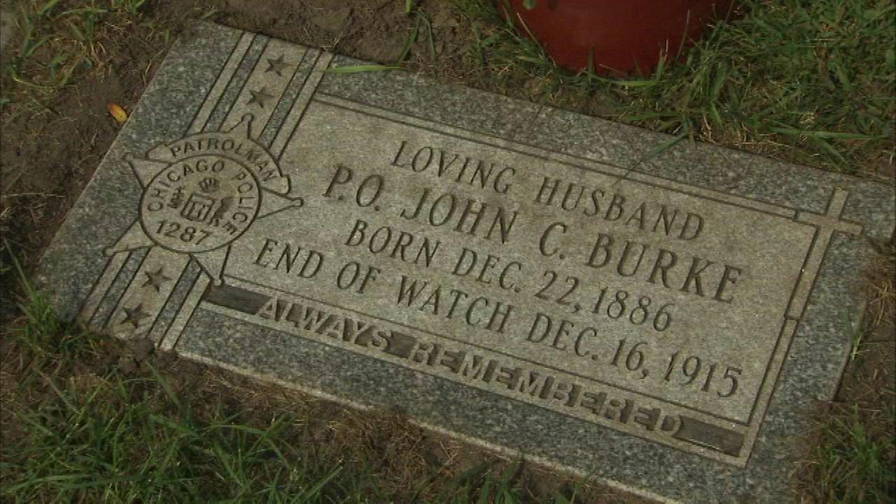 A new headstone for Officer John Burke, who was killed on-duty in 1915.