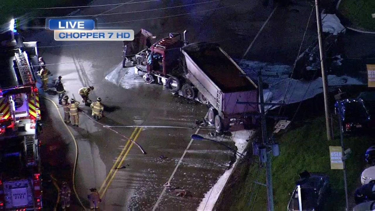 A truck became engulfed after a crash on Route 173 in Antioch Monday morning.
