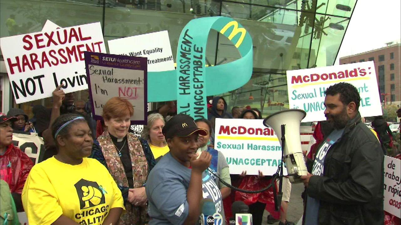 McDonald's employees protest sexual harassment claims