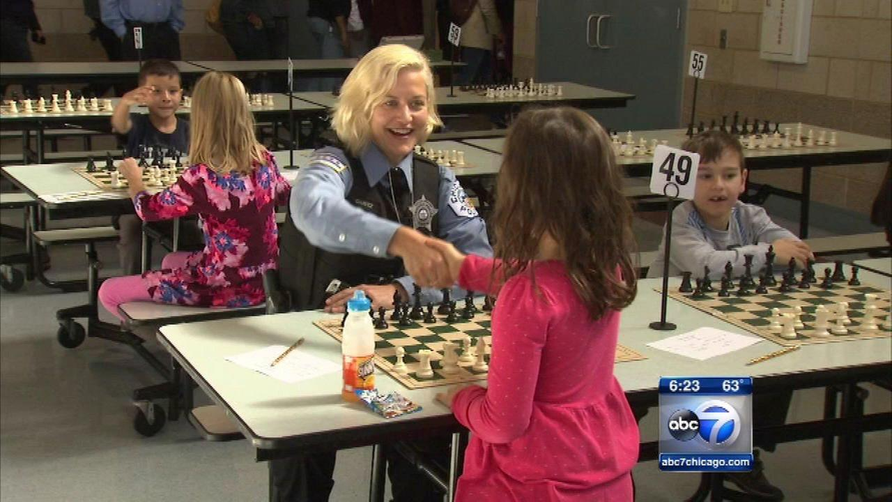 Some Chicago children got a chance to bond with police officers at a chess tournament on Saturday.
