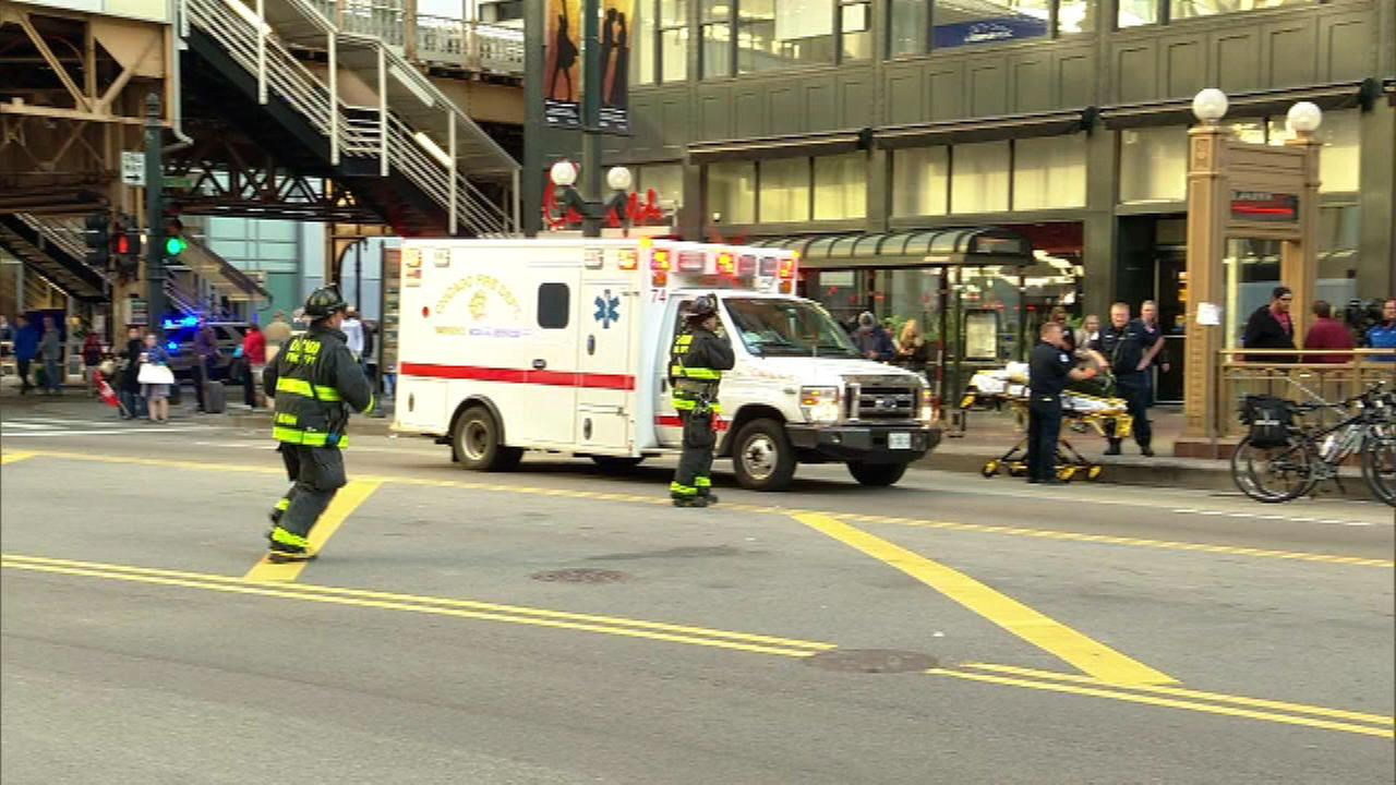 The Chicago Fire Department responds after a person was struck by a Red Line train near State and Lake.