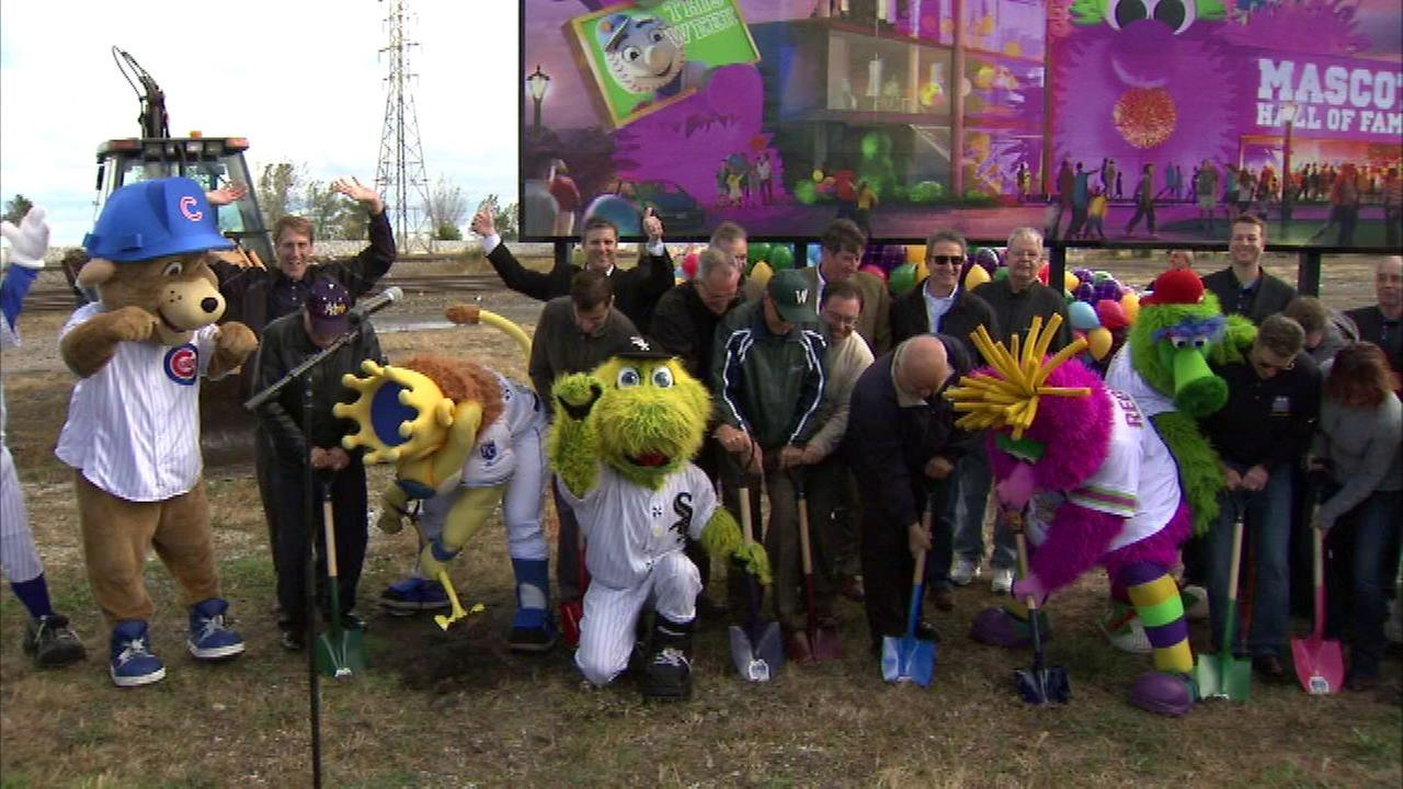 Mascots break ground on a new Mascot Hall of Fame in Whiting, Ind.