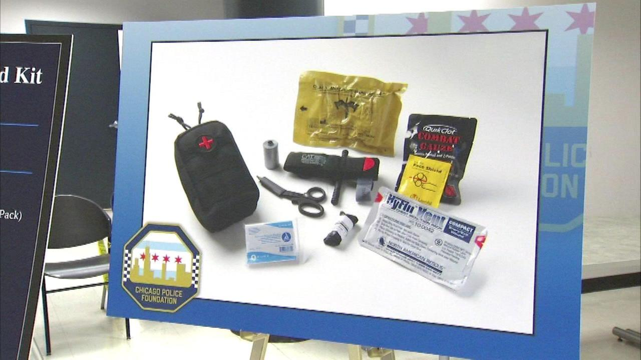 Specially-trained Chicago police officers receive customized first aid kits