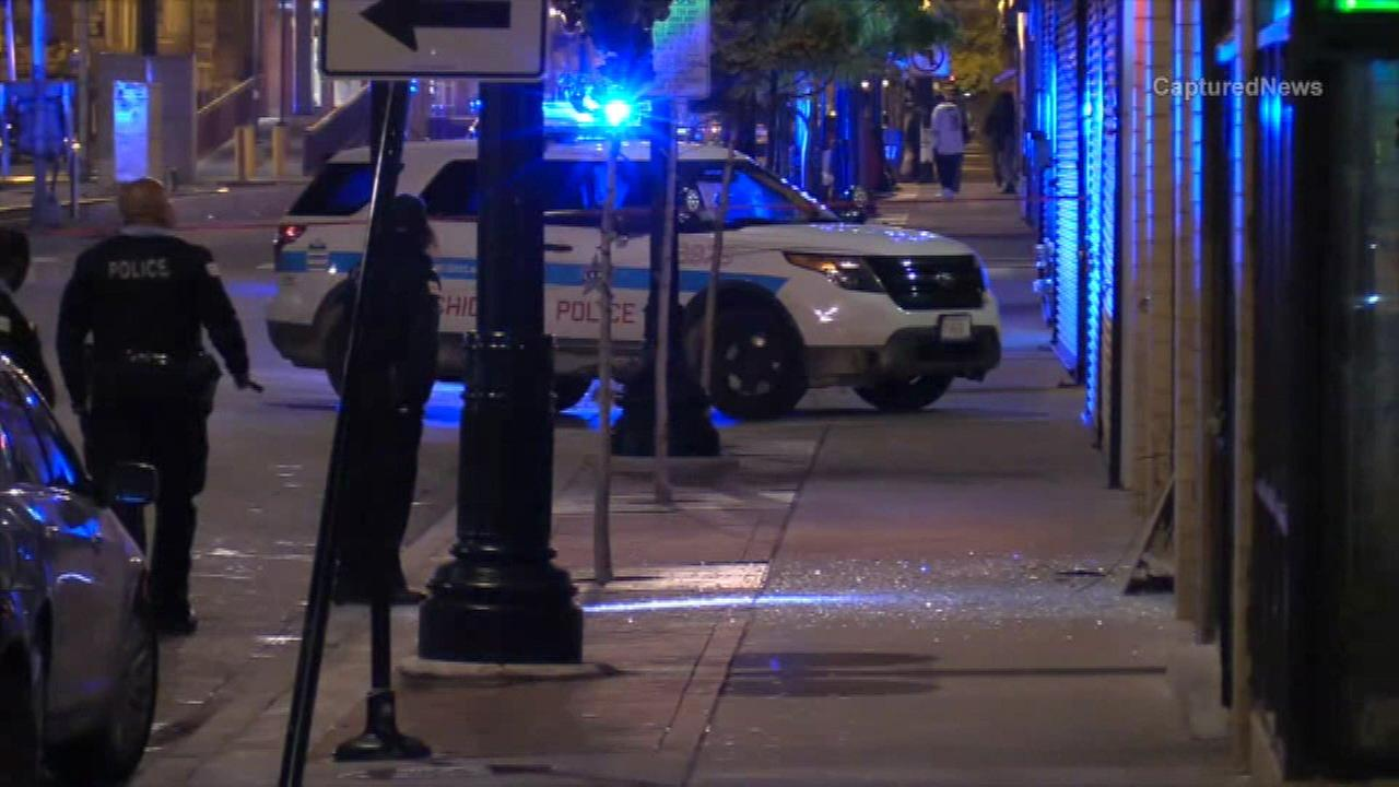 Chicago police investigate after shots were fired at officers in the South Shore neighborhood.