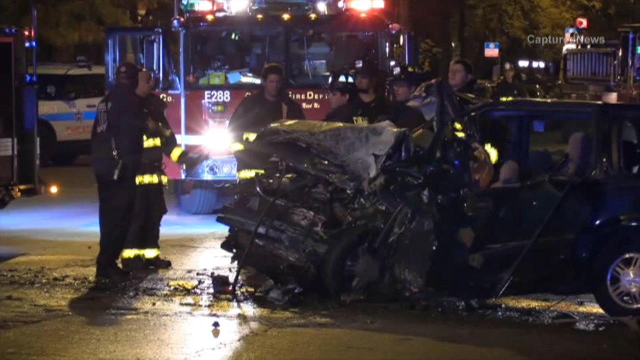 Five people, including three Chicago firefighters, were injured after a crash involving a Chicago fire truck.