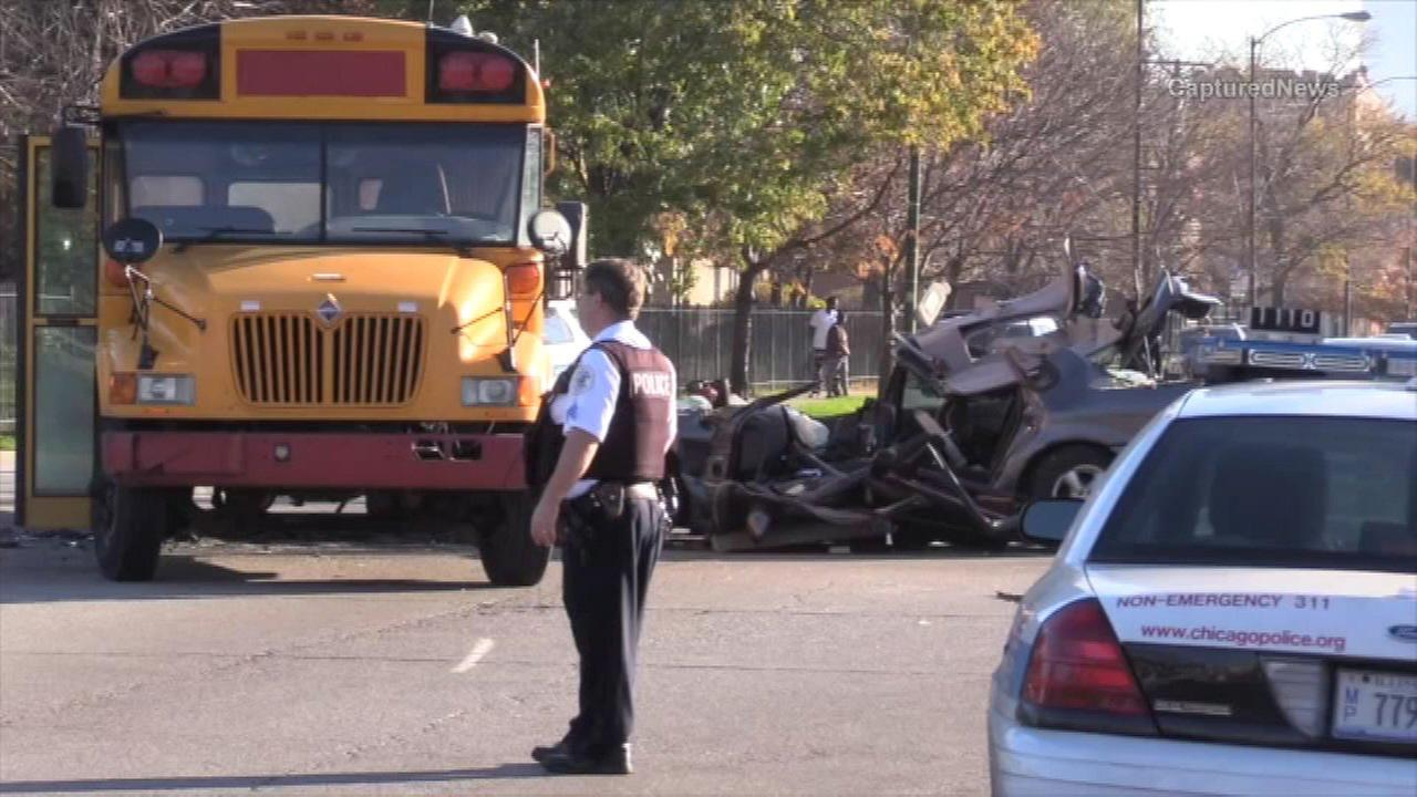 A car and church bus crashed into each other in the East Garfield Park neighborhood Sunday morning.