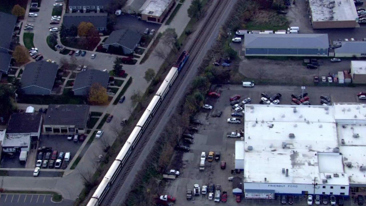 An inbound Metra train on the Milwaukee District-West line fatally struck a pedestrian near the Roselle station Monday afternoon.