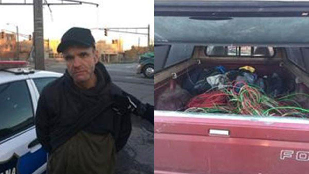 State troopers said they arrested James Higgason III, 47, after he was seen cutting wires from a pole along I-94 near Burns Harbor.