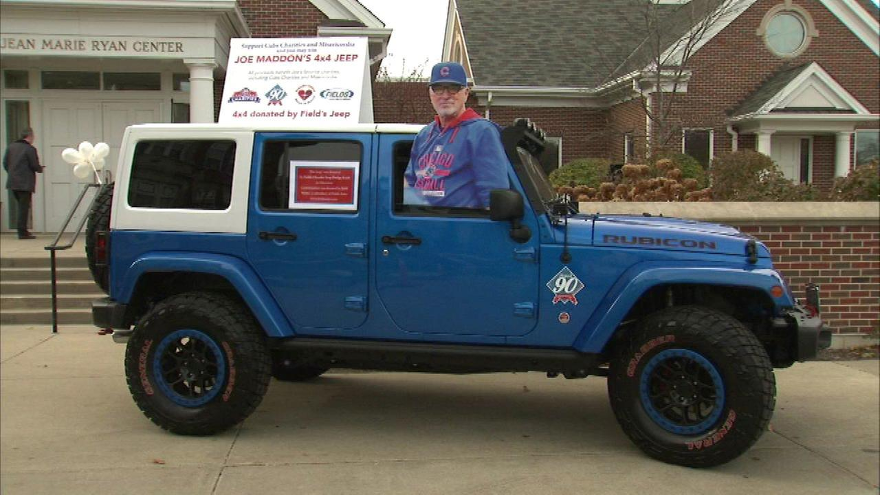 Joe Maddon drove the baseball-themed Jeep all summer. Theres a bat gear shifter, Rawlings seats and other one-of-a-kind features.