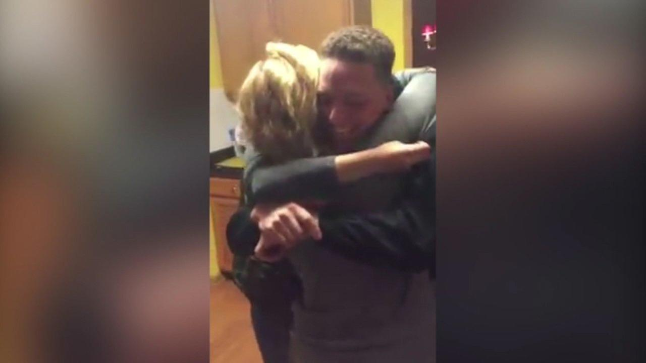 A cadet at West Point Military Academy in New York surprised his family by coming home for Thanksgiving in southwest suburban Romeoville.