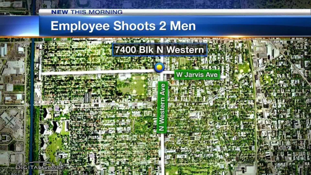An employee shot two men who police said were attempting to rob his West Rogers Park store.