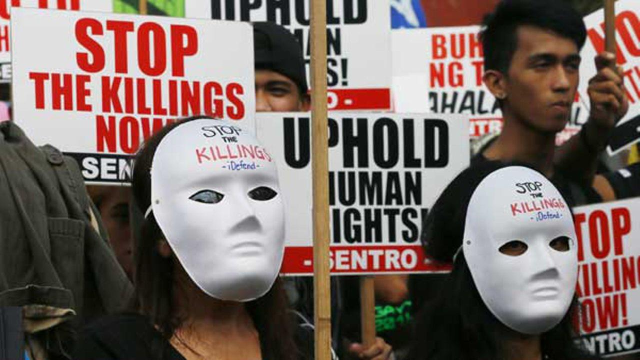 Protesters in Manila called for an end to extra-judicial killings in the Philippines which had claimed the lives of more than 4,000 people.