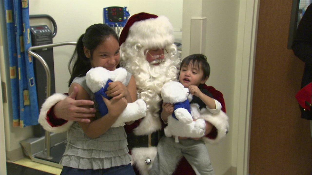 Santa visited children at Loyola University Medical Center on Tuesday.