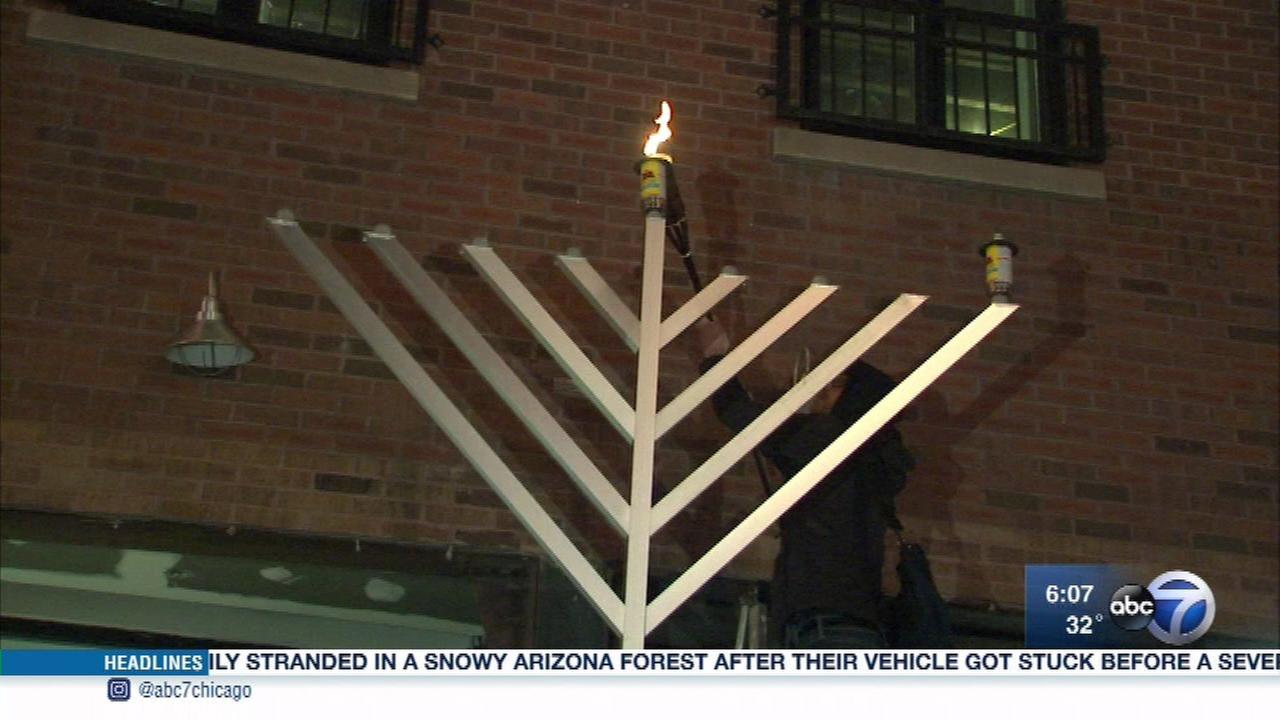 The Chabad of Bucktown holds a public menorah lighting ceremony.