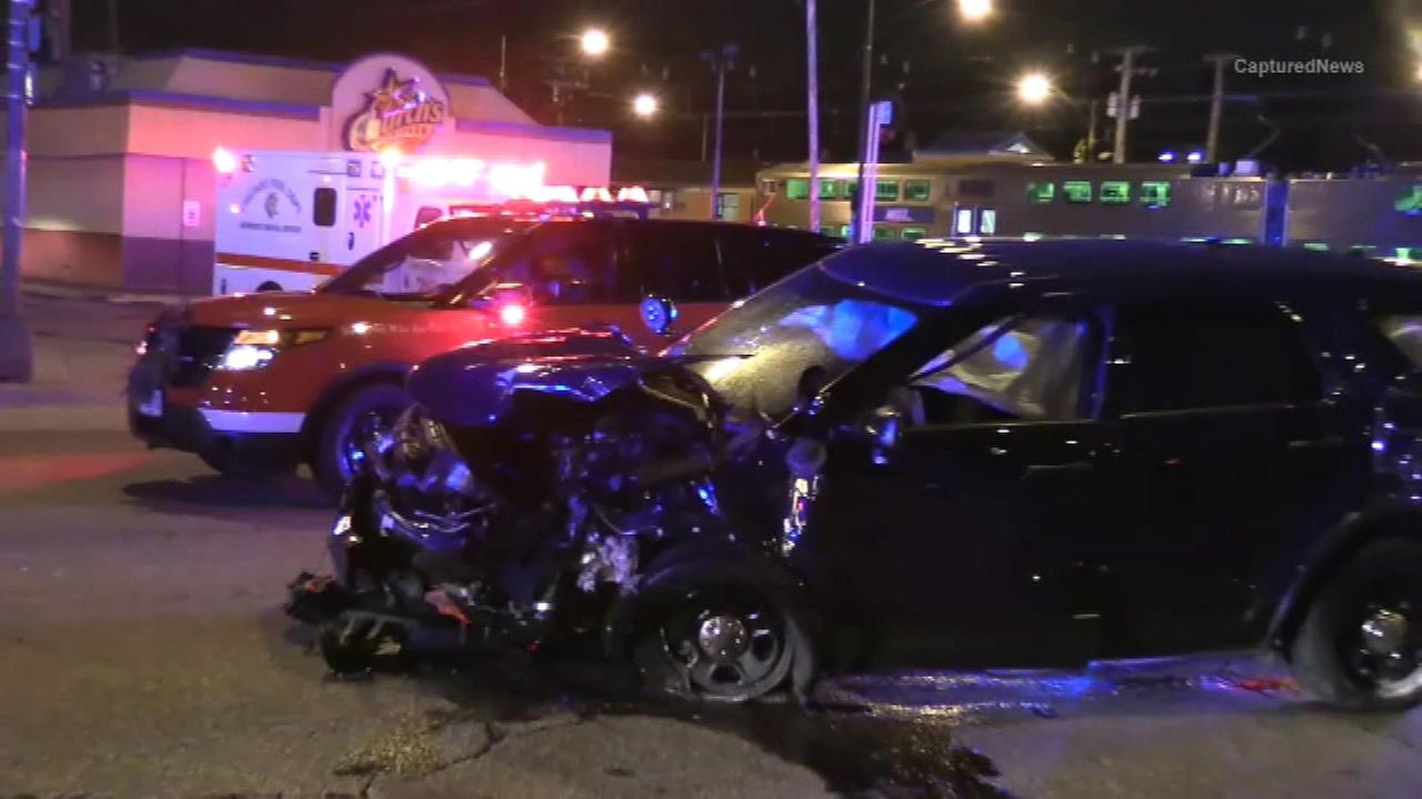 Four Chicago police officers were injured in a crash responding to a call for backup from an incident in which two other officers were injured.