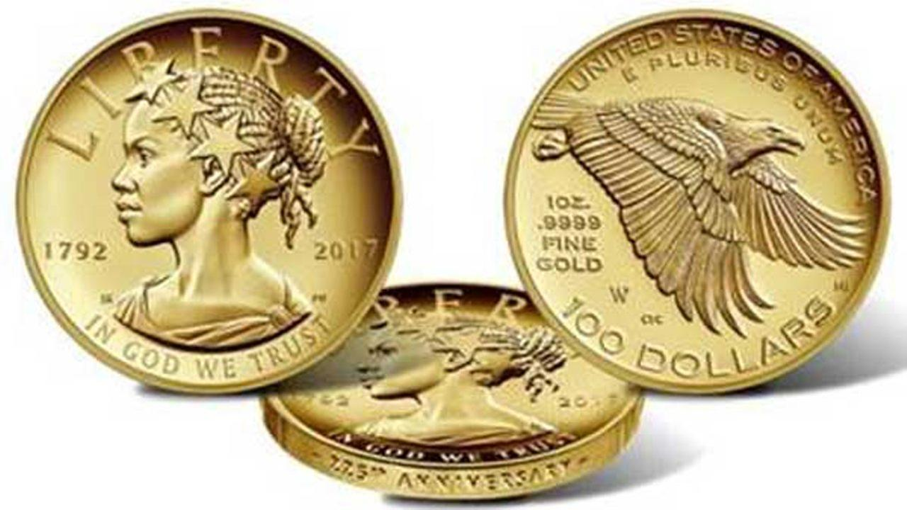 Lady Liberty has new face on anniversary gold coin