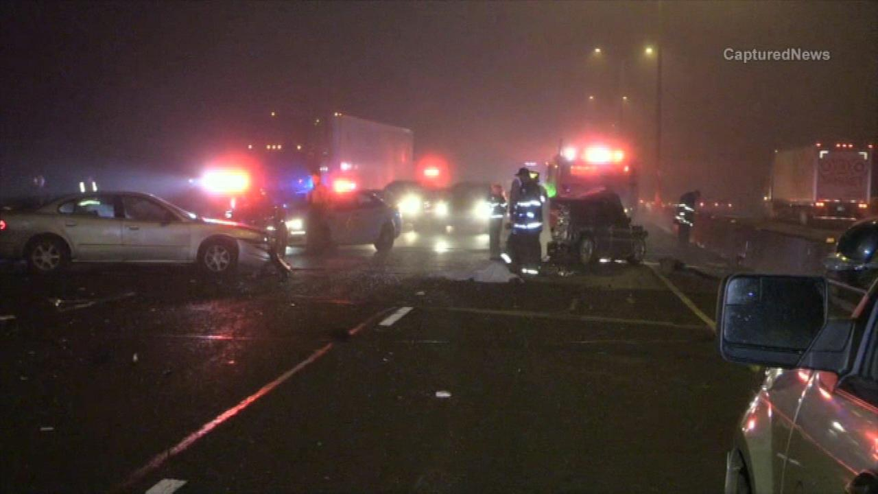 Police investigate a deadly crash on the Bishop Ford Freeway in Dolton.