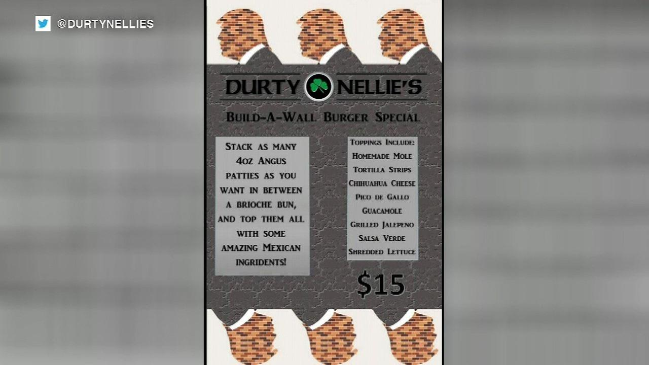 Durty Nellie's apologizes after 'Build-A-Wall' burger special