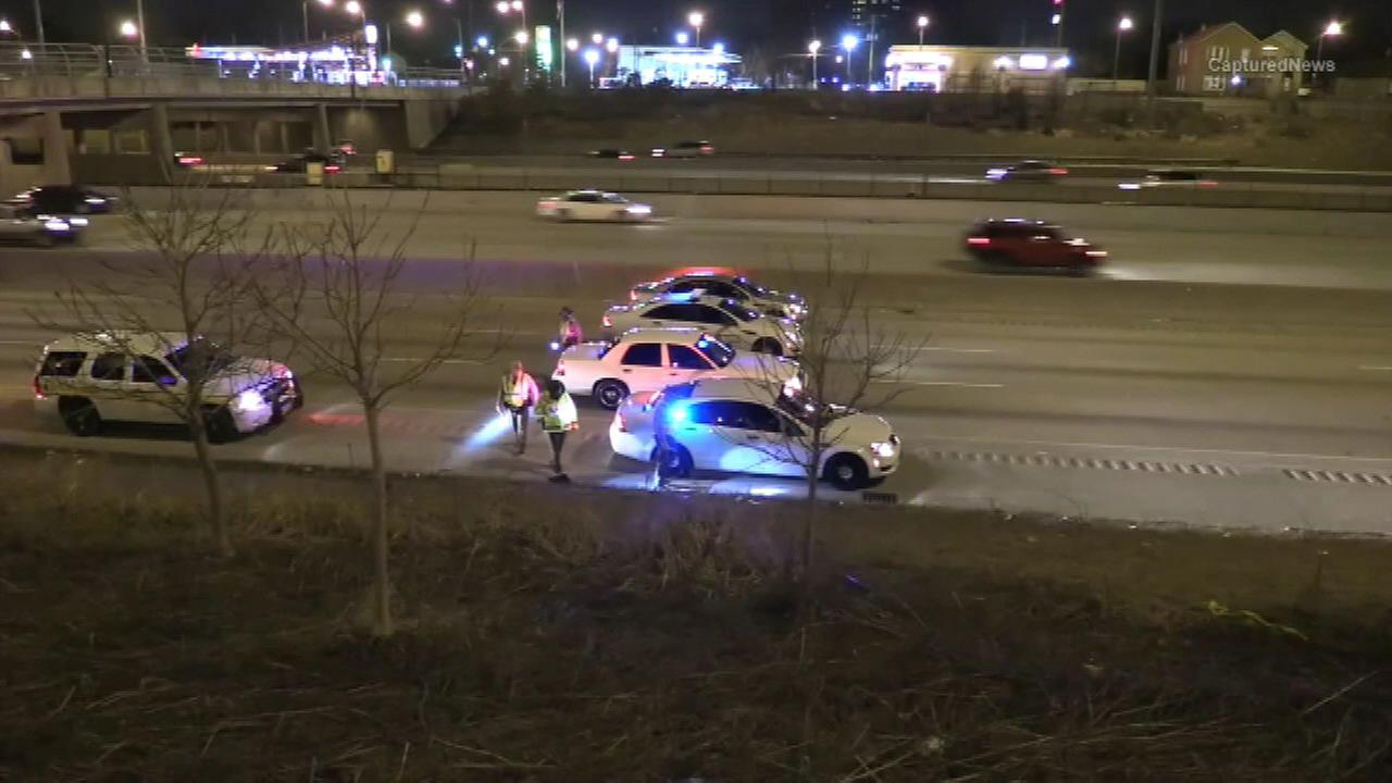 Illinois State Police investigate a shooting on the Dan Ryan Expressway Saturday night.