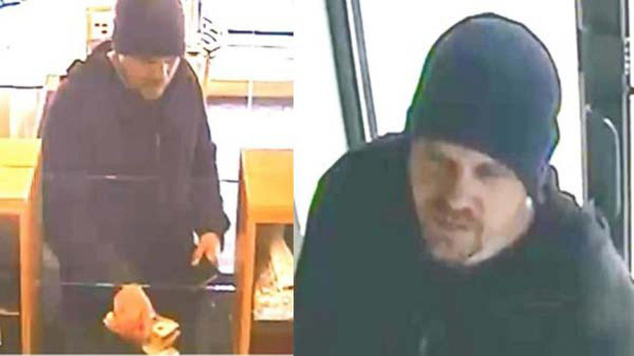 Surveillance photo of the suspect who robbed a Wicker Park bank Wednesday.