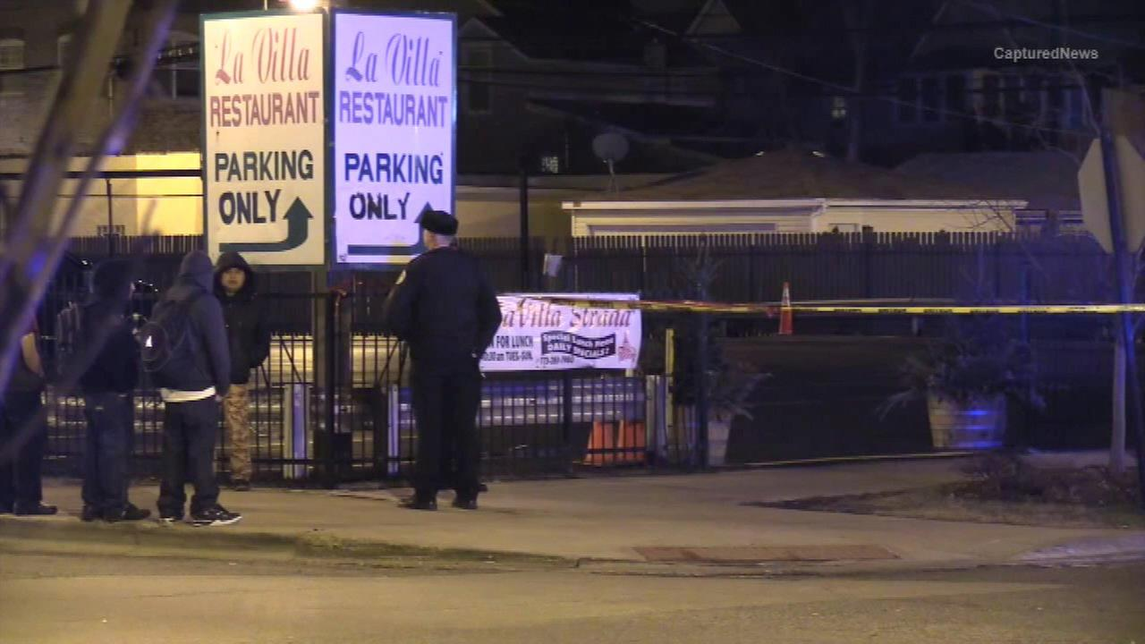 Police investigate after an Old Irving Park restaurant employee was injured trying to break up a fight.