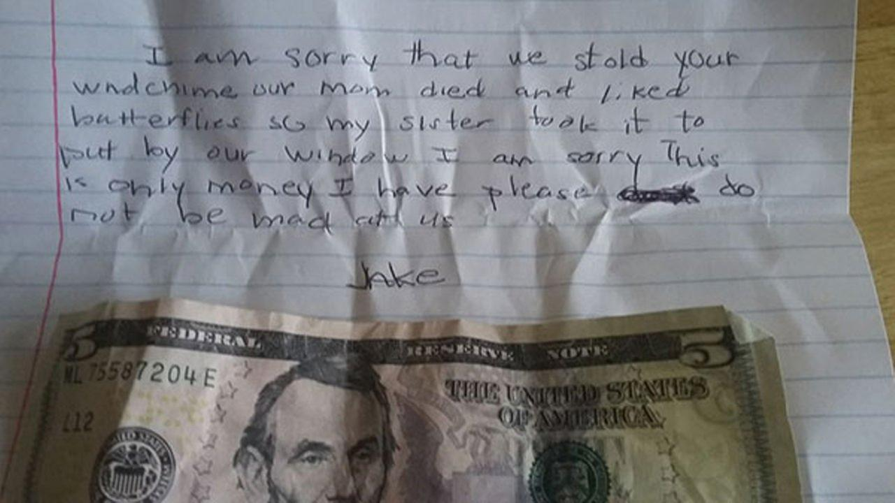 A woman in Washington State shared a heartbreaking apology note left on her door in hopes that she can find the young boy who left it for her.
