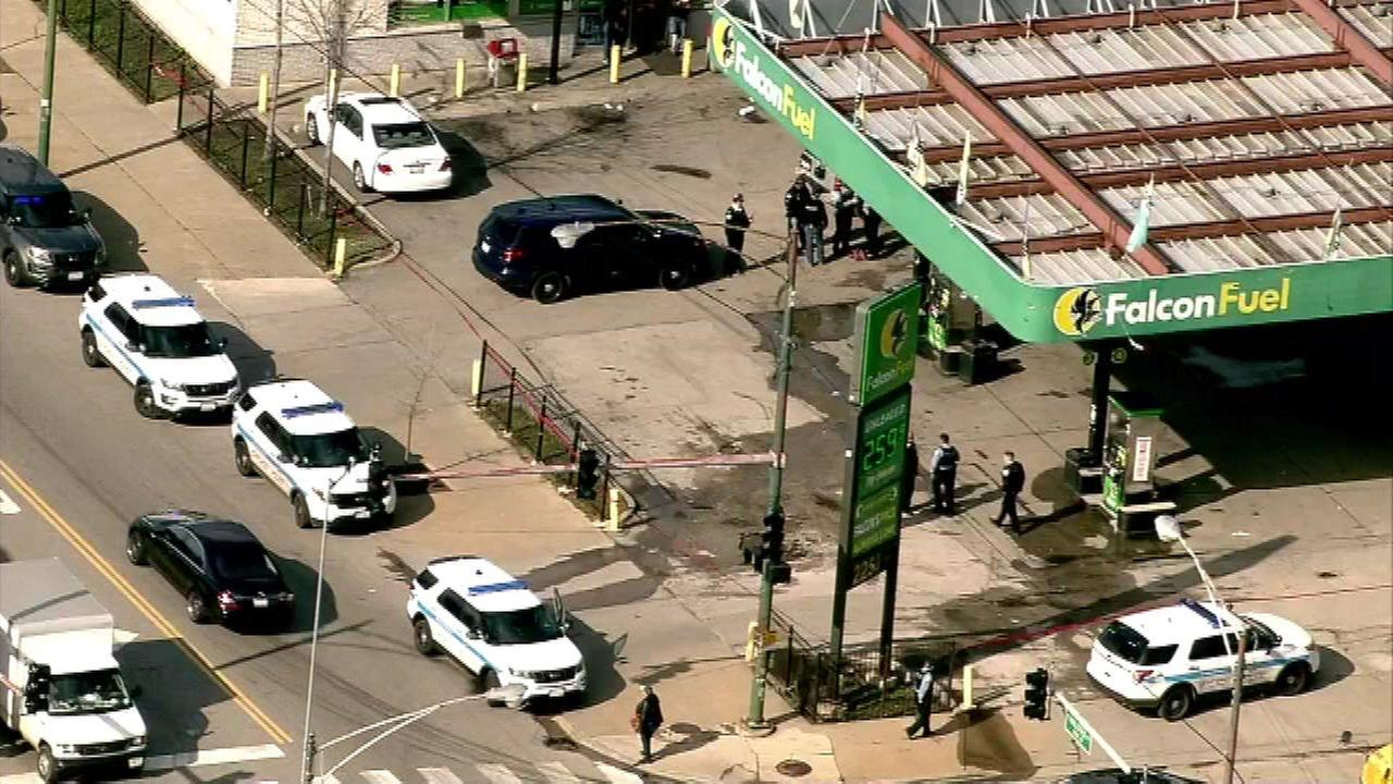 Police said a 28-year-old man was shot in the head at a gas station in the 2300-block of East 83rd Street at around 3:20 p.m.