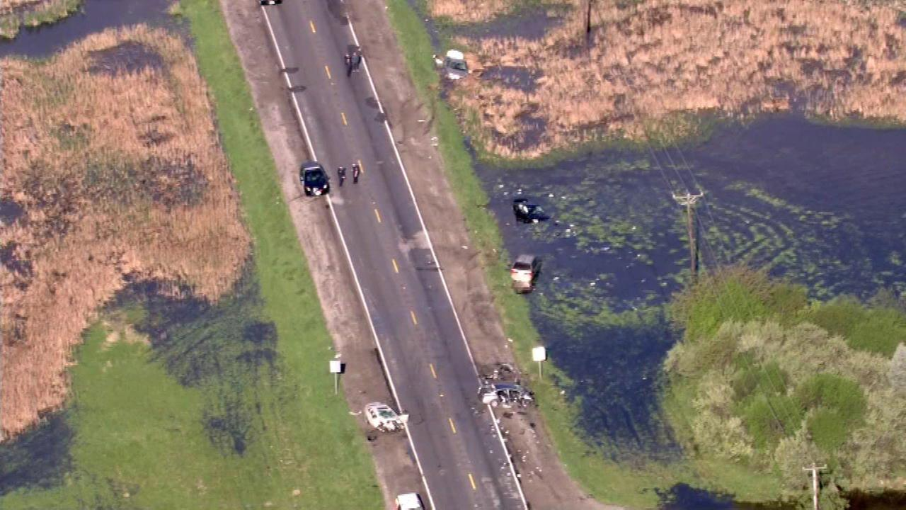 Chopper 7HD flies over a crash on Butterfield Road in Aurora.