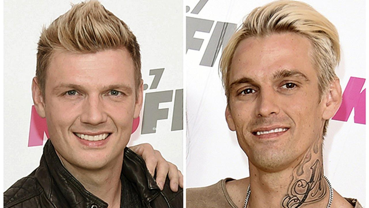 In this combination photo, Nick Carter, left, of the Backstreet Boys and his singer brother Aaron Carter appear at Wango Tango on May 13, 2017, in Carson, Calif.