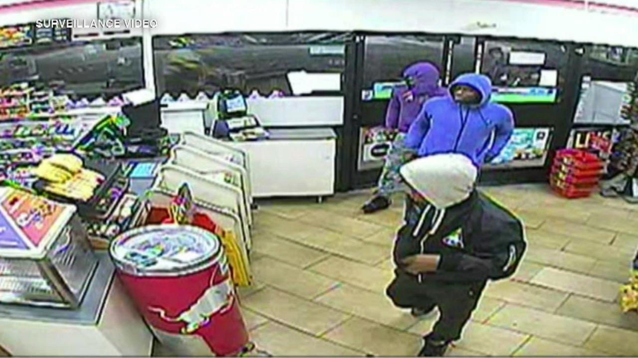 Surveillance image of the suspects in an armed robbery at a Bolingbrook 7-11.