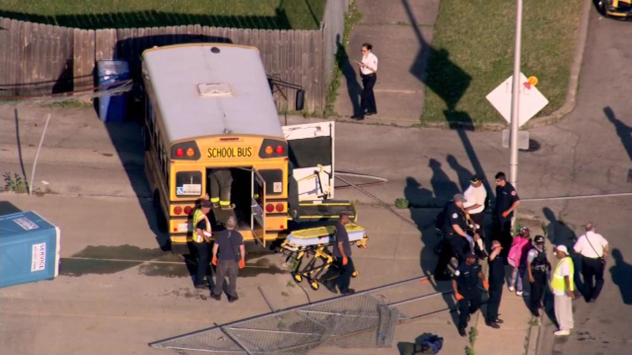 Chopper 7HD flies over an accident involving a school bus and a motorcycle in the Roseland neighborhood.