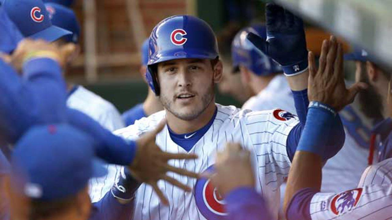 Chicago Cubs Anthony Rizzo celebrates in the dugout after his lead off home run against San Diego Padres on Tuesday, June 20, 2017, in Chicago.