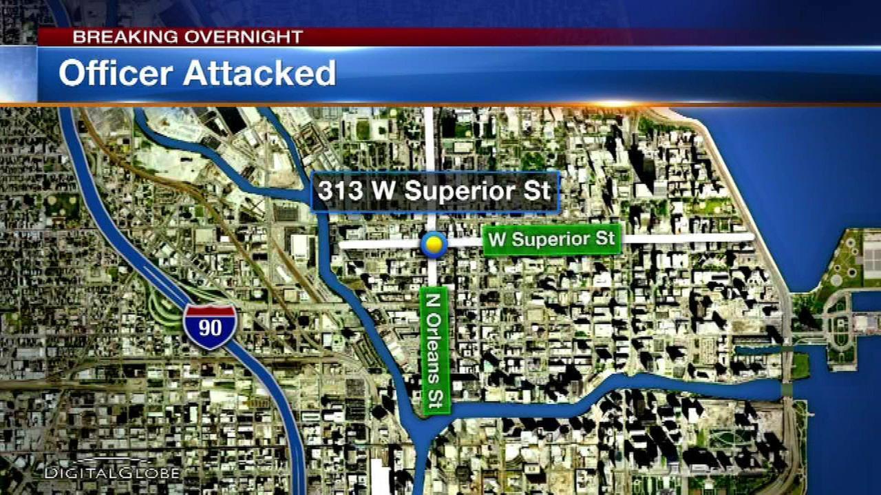 Chicago police officer injured during arrest in River North