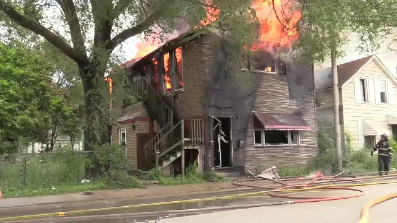 Firefighters battle an extra-alarm fire in Harvey.