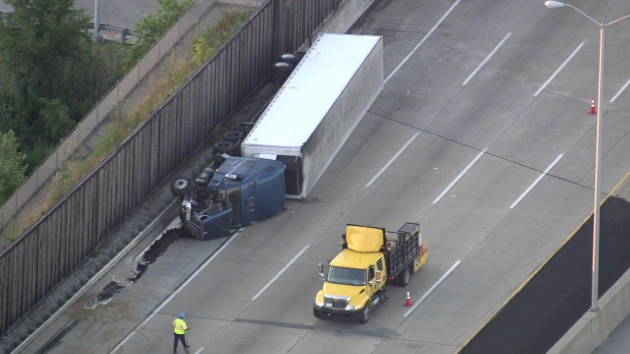 An overturned semi in the northbound lanes of the Tri-State Tollwaynear 115th Street Monday morning.
