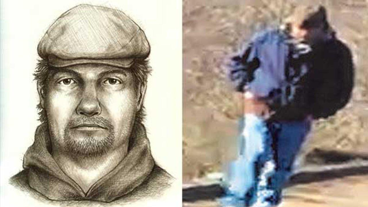 A composite sketch (left) and a previously released photo (right) of the main suspect in the killings of two teens from Delphi, Ind.