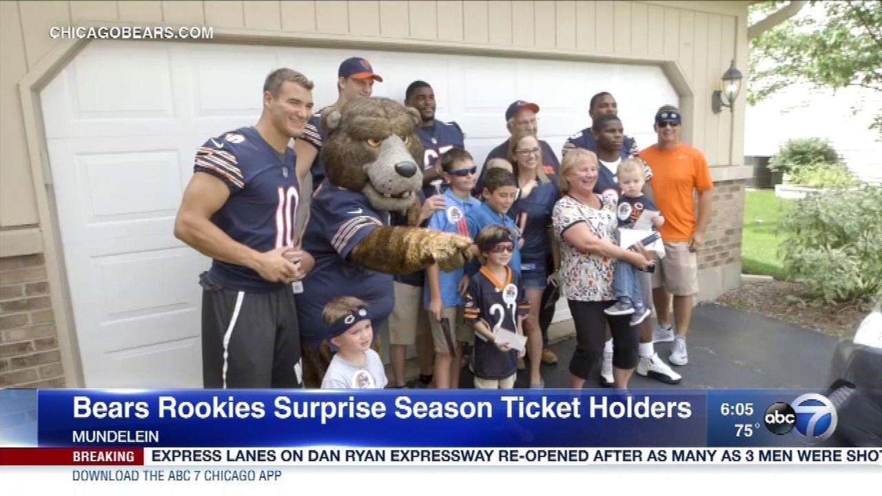 Chicago Bears rookies make a surprise delivery to season ticket holders in Mundelein.