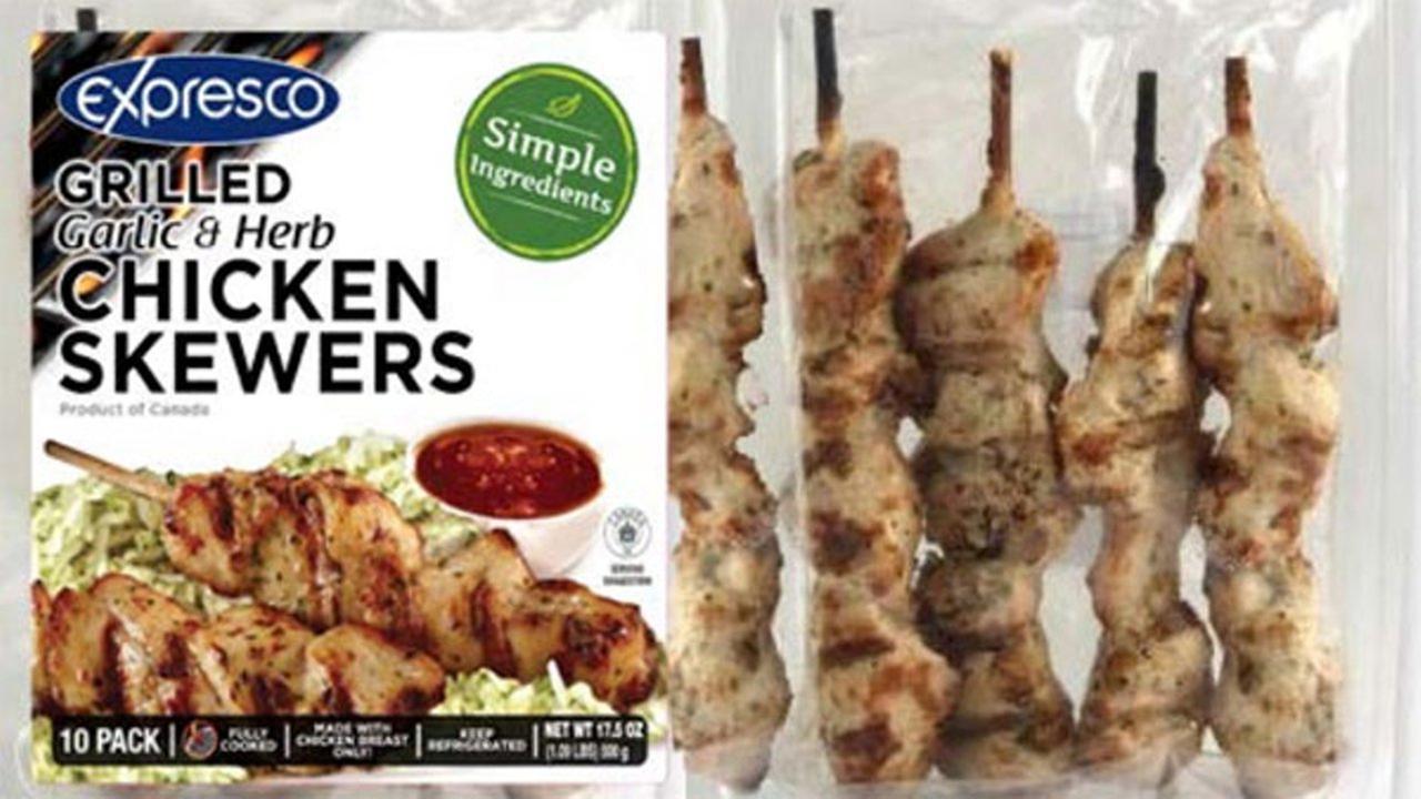 Expresco Foods recalls chicken skewers for listeria contamination