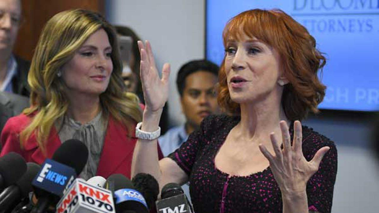 Comedian Kathy Griffin speaks along with her attorney Lisa Bloom during a news conference, Friday, June 2, 2017, in Los Angeles.