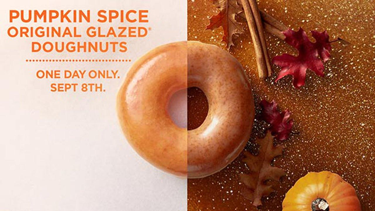 On September 8, Krispy Kreme stores across the country will offer a pumpkin spice original glazed doughnut.