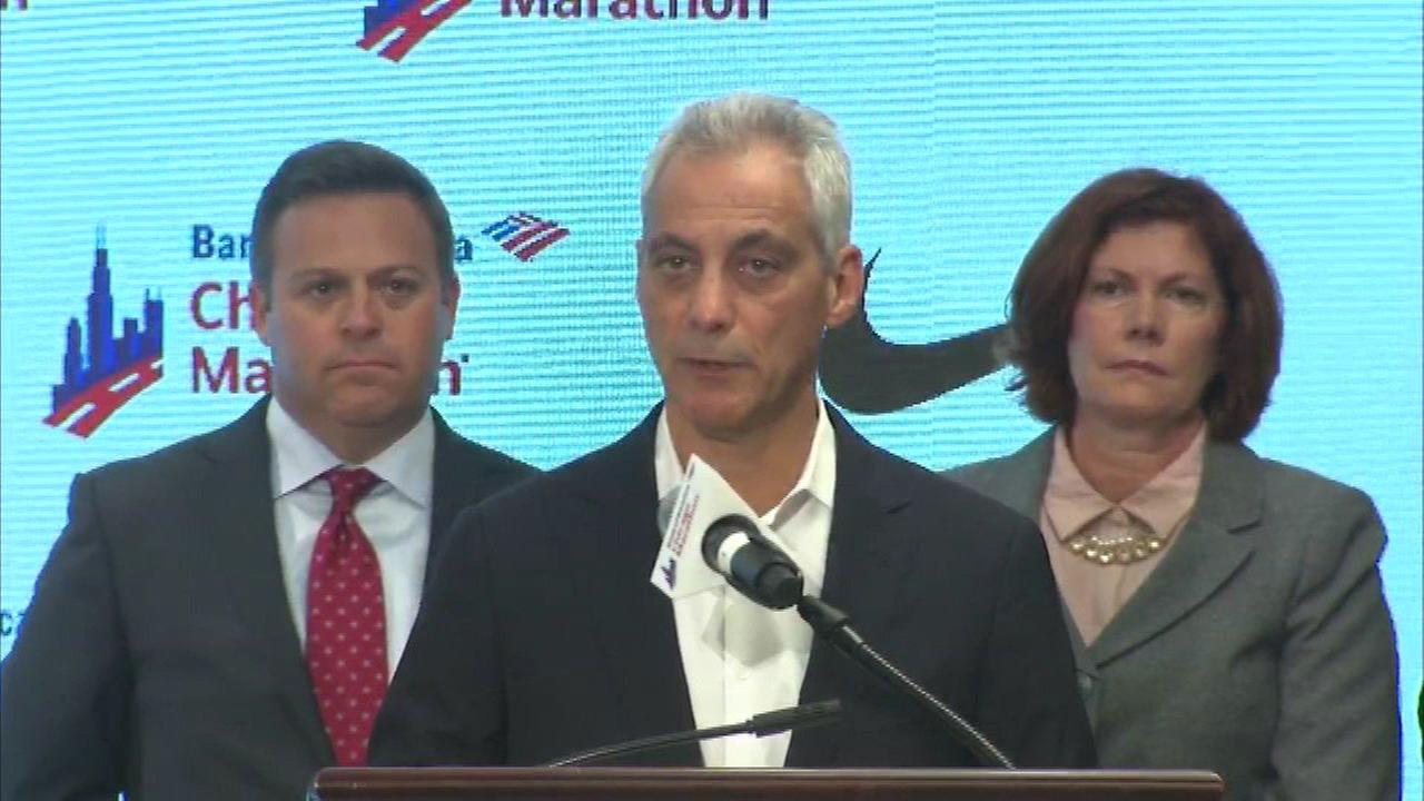 Chicago Mayor Rahm Emanuel at a press conference to kickoff the Chicago Marathon on October 5, 2017.
