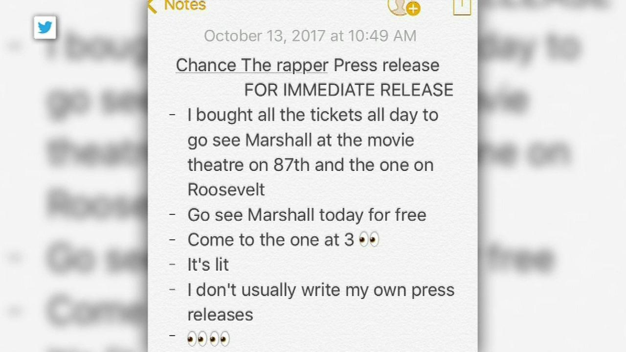 Chance the Rapper bought out all tickets to the new movie Marshall at two Chicago movie theaters Friday and invited fans to join him for free.