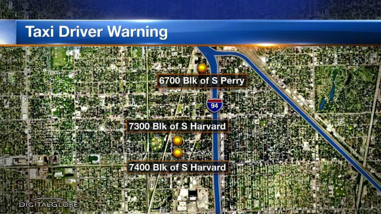 Chicago police have issued an alert for cab drivers after three robberies in the Englewood neighborhood this month.