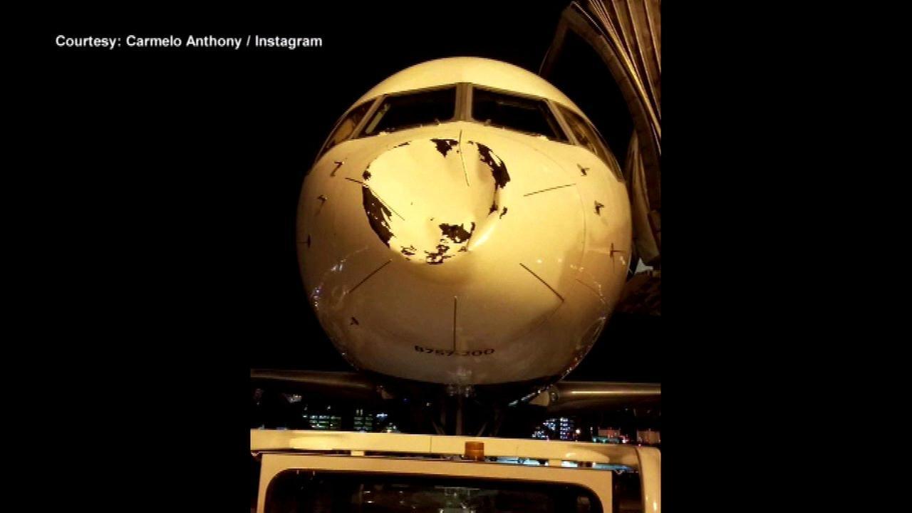 Oklahoma City Thunder dented plane